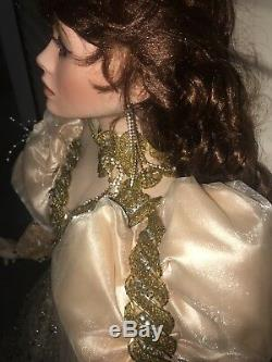Robe De Poupée Rustie 42 Pouces Or Yeux Violets Roses Vintage Énorme