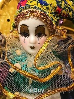 Set De Quatre Poupée Harlequin Vintage En Porcelaine Peinte À La Main, Tête Et Mains, Corps Souple