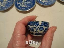 Set De Vaisselle Vintage Mij 22 Pièces Blue Willow En Forme De Poupée 1 Puce Dans La Tasse Extra
