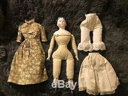 Tête De Poupée En Porcelaine De Chine Vintage 14 L Corps Pariam Lady Doll Vêtements Antiques