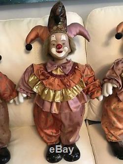 Très Grandes Poupées De Poupée De Clown De Porcelaine 24 Pouces