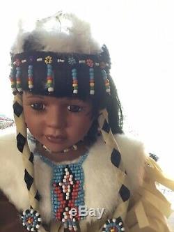 Trésors Classiques Vintage Collection Porcelaine Poupée Amérindien Avec Bébé