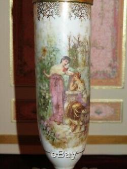 Vente! Magnifique Paire De Antique Français Miniature Sevres Style Porcelaine Urnes