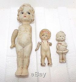 Vieux 3 Bisque Vintage 3-7 Porcelaine Dolls Inch Made In Japon, Sur 2 Bras Articulés