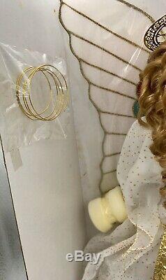 Vintage 18 Pouces Porcelaine Menthe Franklin Doll Ange Blanc / Or Avec -nib Stand