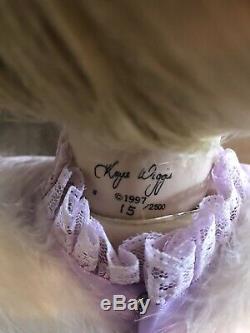 Vintage 1997 Kaye Wiggs Ange Chanelle Poupée En Porcelaine Avec Support Signé 15/2500