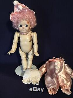 Vintage 221 Googly Porcelaine Jdk Poupée 11 Verre Poupée Clown Costume Eye In