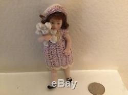Vintage Belle Poupée Miniature En Porcelaine 3.2 Haut Articulé