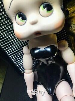 Vintage Betty Boop Mobile Articulé Porcelain Doll En Robe Noire 11.5inch