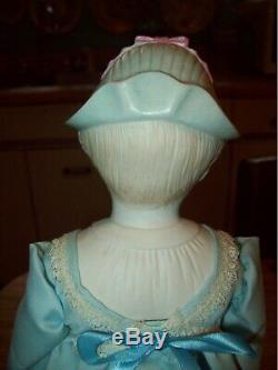 Vintage Blonde Haired Bonnet Parian Tête En Porcelaine Poupée Bleuet Bleu Avec Des Puces