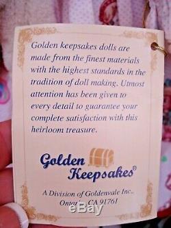 Vintage D'or Keepsakes Raggedy Ann Andy Porcelain Doll Set Avec Ours En Peluche