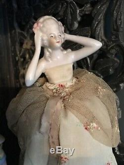 Vintage Des Années 1920 Collection De Demi-poupées En Porcelaine Et Une Grande Poupée Coussin À Épingles