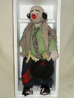 Vintage Dynasty 1976 Hobo Clown Emmett Kelly 22 Porcelaine / Tissu 15 Doll Banc