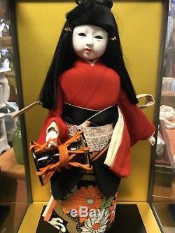 Vintage Japan 16.5 Ichimatsu Fille Kimono Porcelaine Geisha Poupée Avec Etui