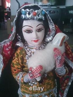 Vintage Kashmiri Collection Poupée En Céramique Visage Peint À La Main À La Main
