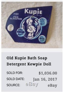 Vintage Kewpie Doll Tissu 6 Papier Estampés Métal Porcelaine Gaz Huile Poupées Signe