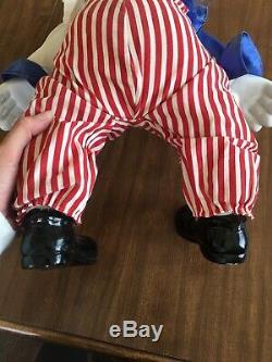 Vintage Porcelaine Clown Doll Bozo Le Clown IL Music Box Rare Old 22 Colle Longue
