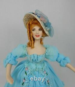 Vintage Porcelaine Southern Belle Doll Red Hair Artisan Dollhouse Miniature 112