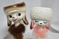 Vintage Retro Porcelain Une Paire De Chat Brun Et Rose Fabriqué Au Japon F / S