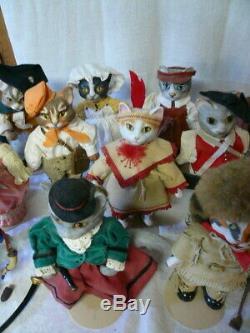Vintage Set 13 Franklin Mint Colonial Collection Cat Porcelaine Chats Poupées