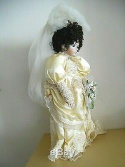 Vintage Tous Porcelain Doll Mariée Handcrafted Patti-kake Poupées 1985 Boule Articulé