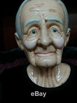Vintage Vieux Homme / Femme Grand-mère Et Grand-père Allemand Poupées Bisque William Wallace Jr