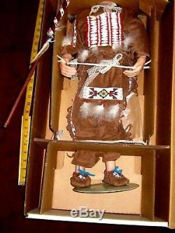 Vntg. 27 Américain En Chef Porcelaine / Tissu Indian Doll Rambaud & Crawford / Excl
