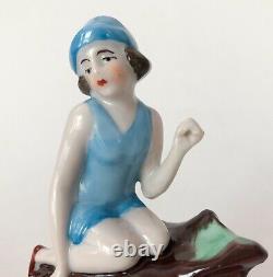 Vtg Baigneuse Lady Doll Figuring Bleu Porcelaine Céramique Allemand Art Déco