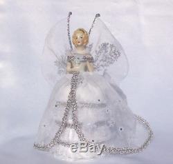Vtg Demi Poupée En Porcelaine Allemande Flocon De Neige Robe De Fée Pinceau Poupée De Collection