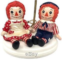 Vtg Des Années 1970 Raggedy Ann & Andy Poupée Céramique Lampe Peinte À La Main Filles Chambre Ooak