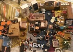 Vtg Dollhouse Miniature Lot Mixte Lundby MCM Meubles Poupées Lampes Cuisine Art