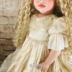 Vtg Grande Porcelaine Poupée Glinda Linda Rick Blonde 24 Et Support