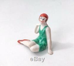 Vtg Lady Baigneuse Figurine Half Doll Rel Bisque Art Déco Porcelaine Allemagne