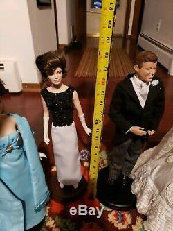 Vtg Pre-owened 4 Poupées Numérotées En Porcelaine Jfk Jackie Kennedy Onasis 1