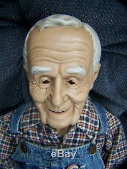 William Wallace L Vieux Grand-père Homme Porcelain Doll Tissu Vintage Signée